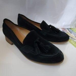Franco Sarto Size 8 Black Suede Tassel Loafers